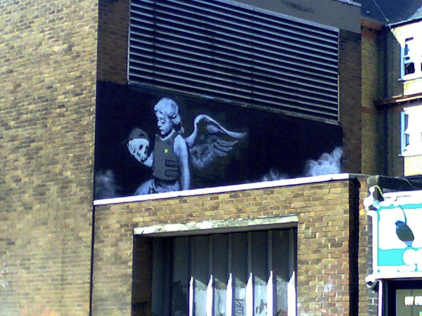 Banksy, Angel with skull. In memoriam Ozone