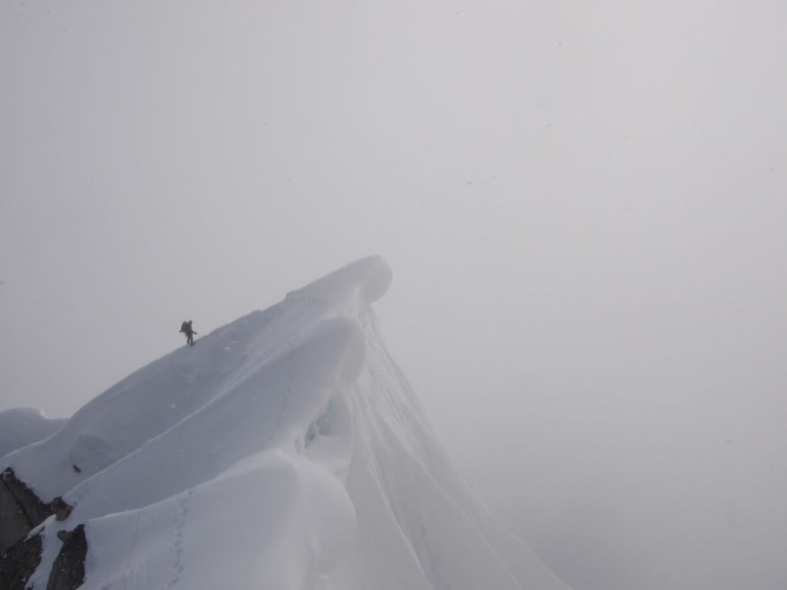 Cornice Crossing - Moving up the Southwest Ridge of Peak 11,300 - Denali