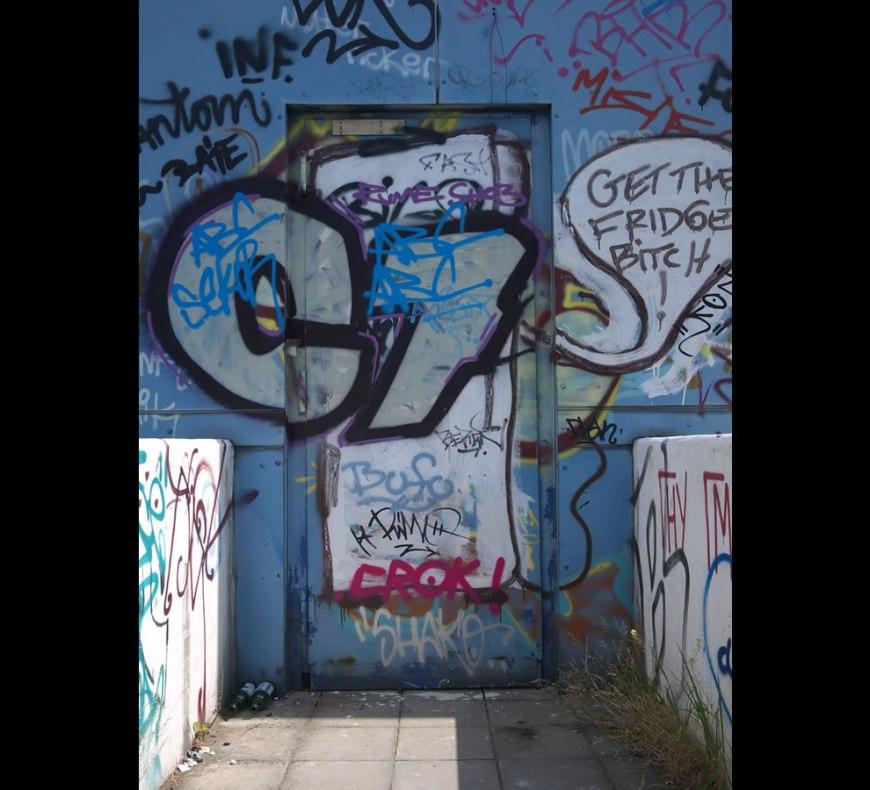 Graffitti door at abandoned NSA Radar listening station