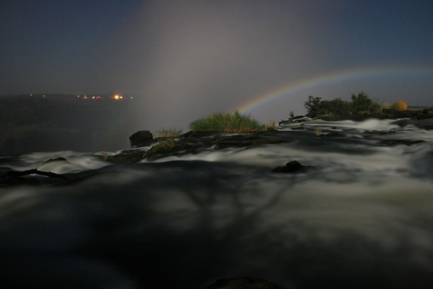 Lunar rainbow over Victoria Falls