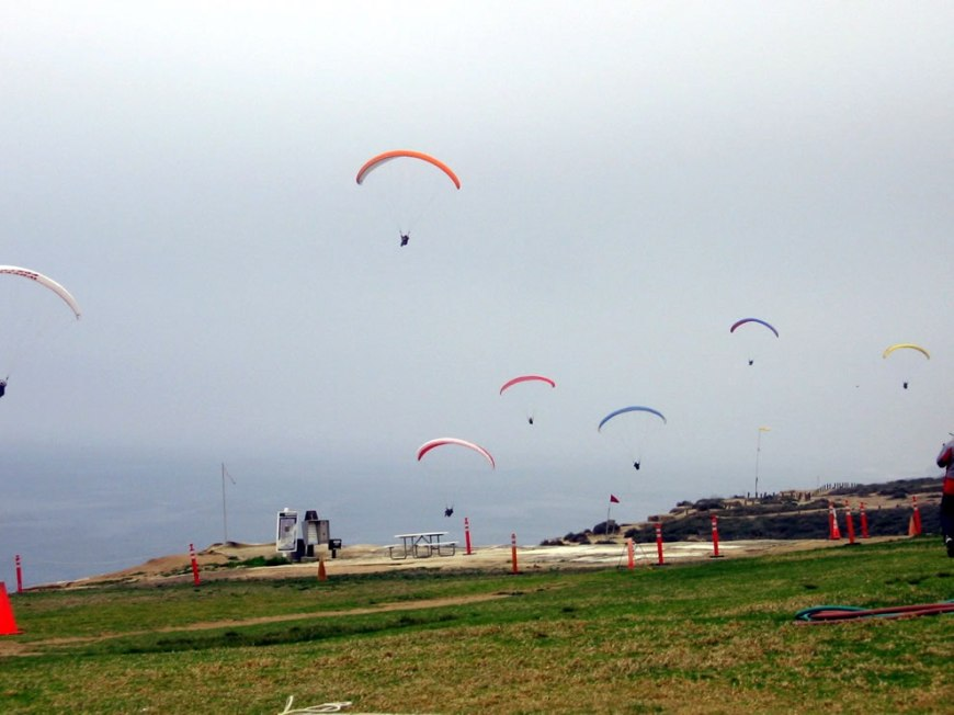 Paragliders in the air at Torrey Pines Gliderport