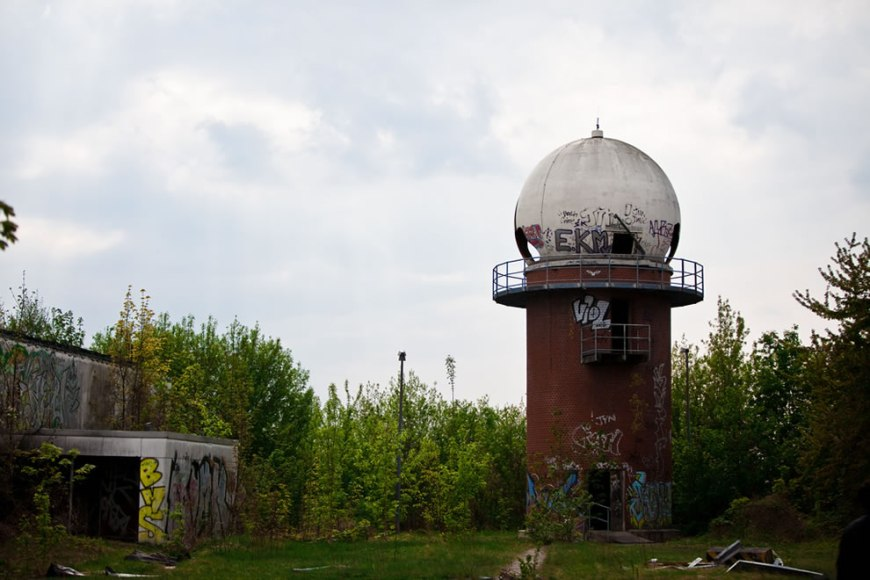 Small tower at Devil's Mountain, Teufelsberg former NSA listening post in Berlin