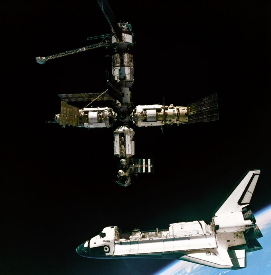 Space Shuttle Atlantis departing the Mir Russian Space Station. This image was taken during the STS-71 mission by cosmonauts