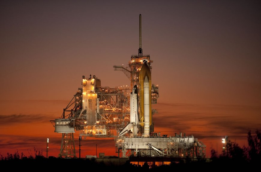 space shuttle Atlantis is seen on launch pad 39a of the NASA Kennedy Space Center shortly after the rotating service structure was rolled back, Sunday, Nov. 15, 2009