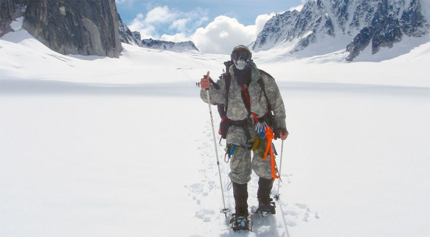 Spc. Dave Shebib is among four wounded warriors attempting to summit Mount McKinley, also known as Denali, in Alaska's Denali National Park and Preserve, June 1, 2009