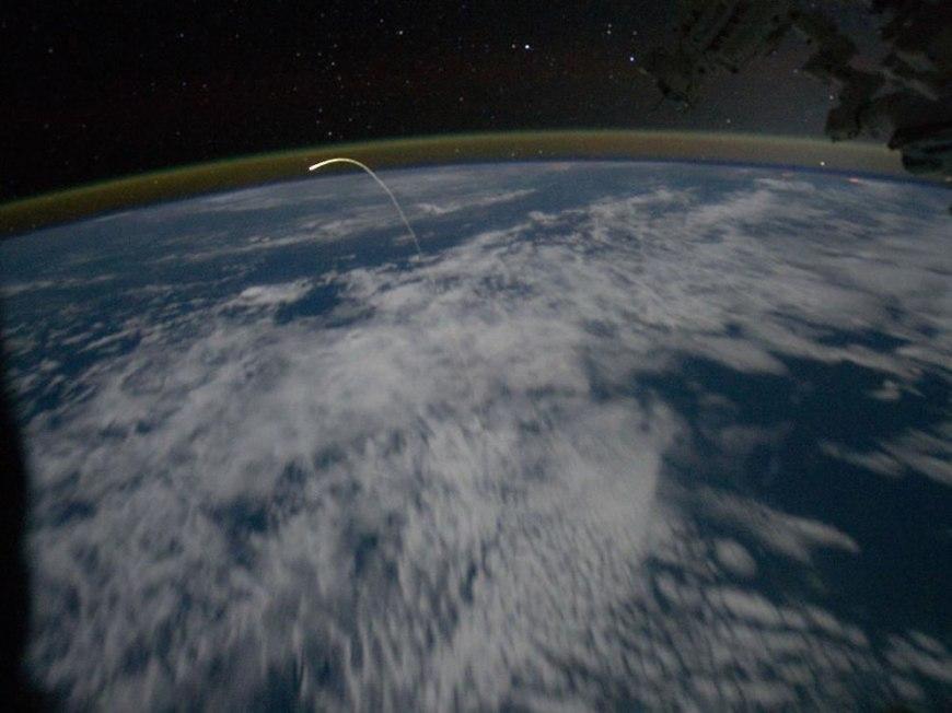 Station Crew Views Shuttle Landing