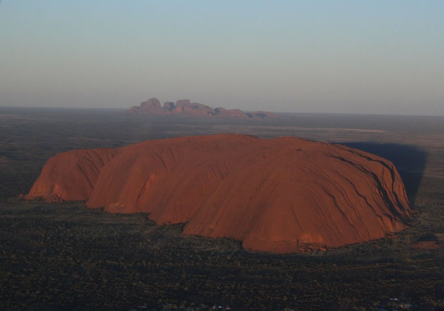 Dawn aerial view of Uluru and Kata Tjuta