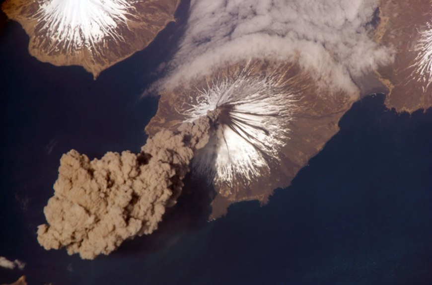Eruption of Cleveland Volcano, Aleutian Islands, Alaska is featured in this image photographed by an Expedition 13 crewmember on the ISS