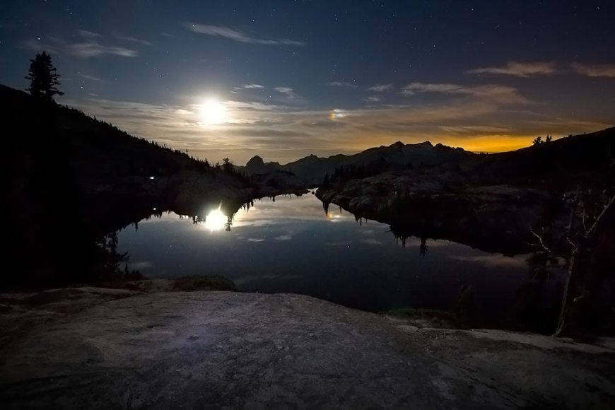 Lower Robin Lakes Moonlight, Alpine Lakes Wilderness, Washington