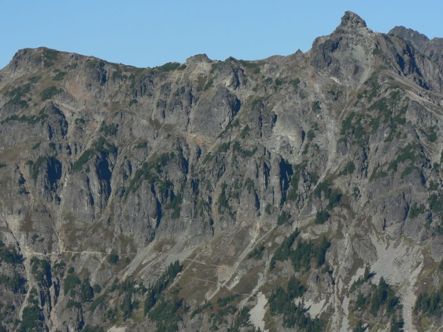 Pacific Crest Trail crossing the southwest face of Chikamin Peak