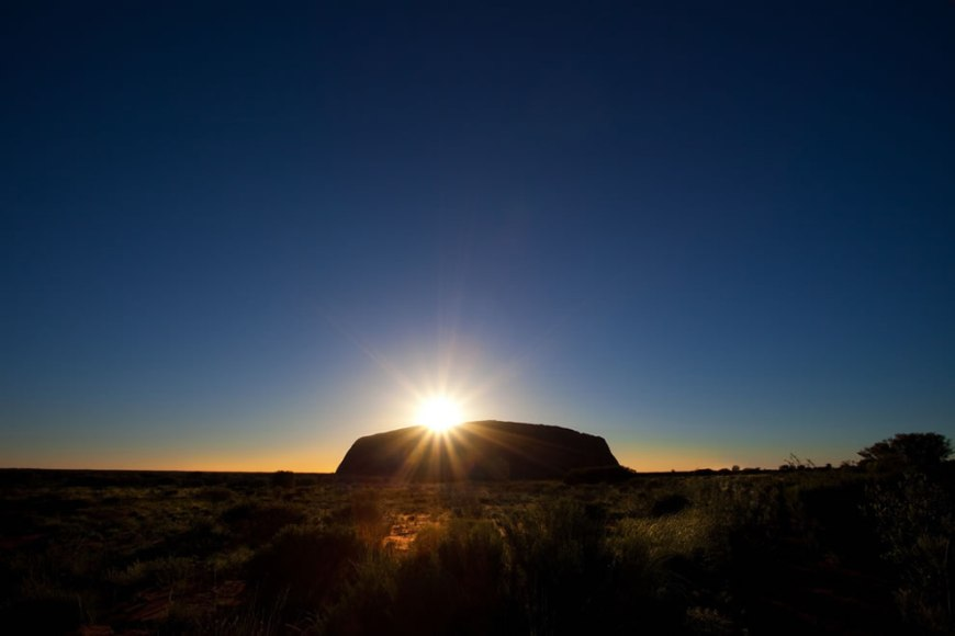 Uluru at sunrise sun on top by ID Photography Alice Springs