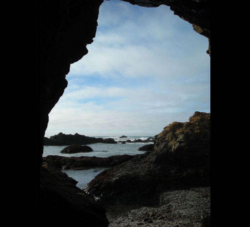 view from Sea Cave at Glass Beach in Fort Bragg
