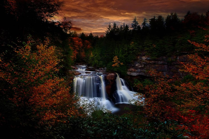 Autumn Waterfall at Sunset