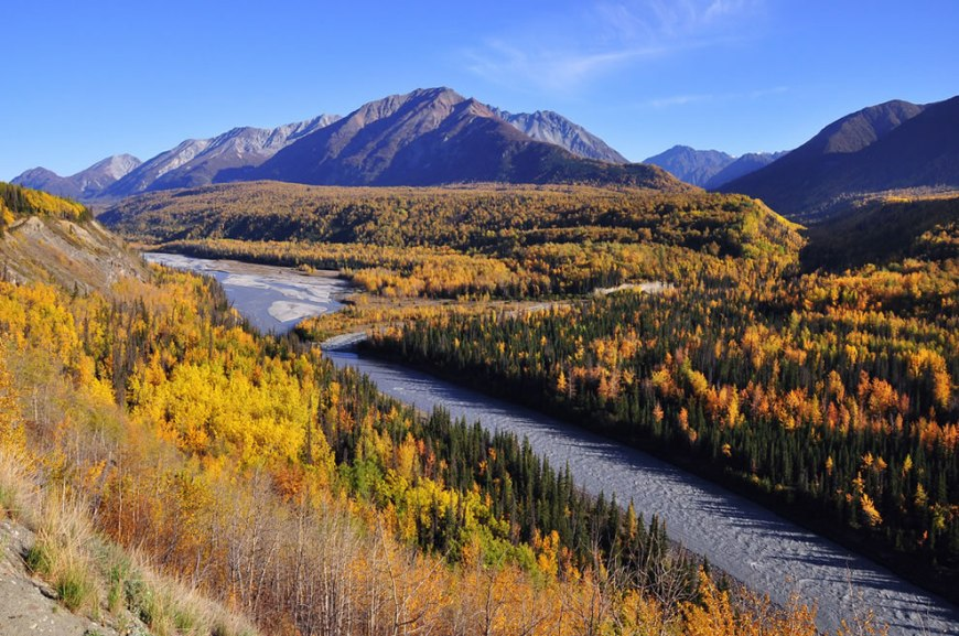 Beautiful Autumn colors along the world famous Glenn Highway - Matanuska River Overlook - Alaska