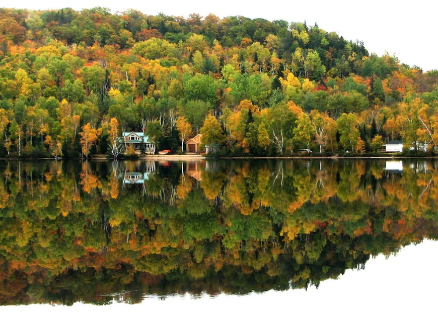 Beauty of autumn in Canada mirrored on the lake