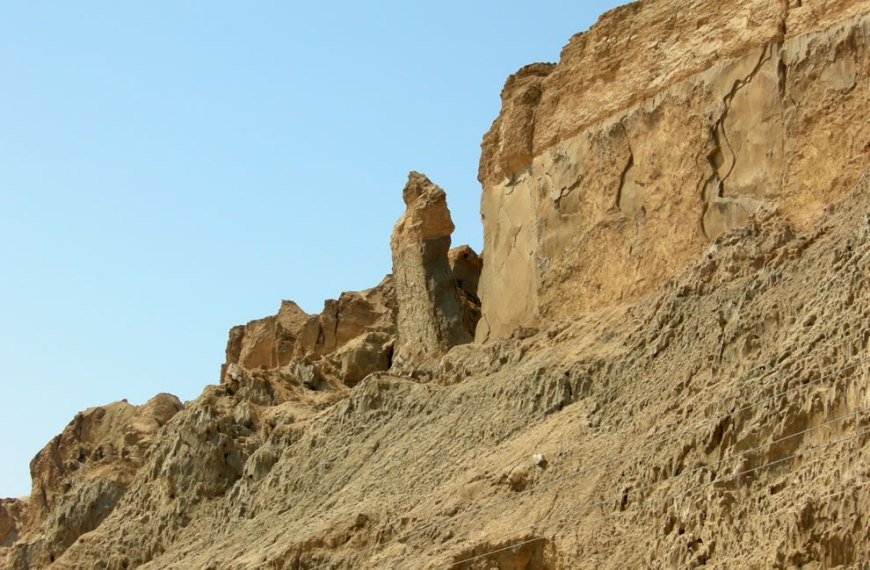 In the Bible, the Dead Sea is called the Salt Sea, the Sea of the Arabah, and the Eastern Sea. Mount Sodom, Israel, showing the so-called 'Lot's Wife' pillar