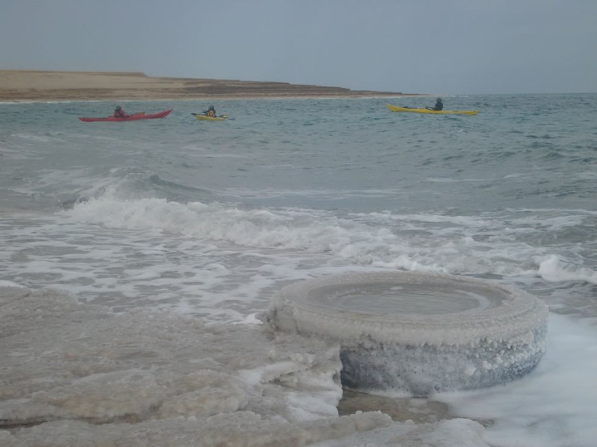 Kayaks in the Dead Sea