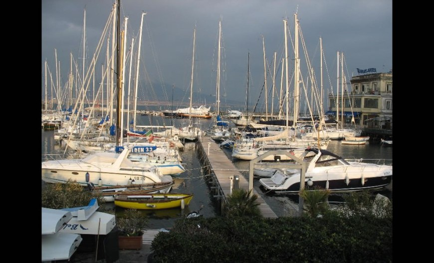 Napoli marina with Vesuvio on background