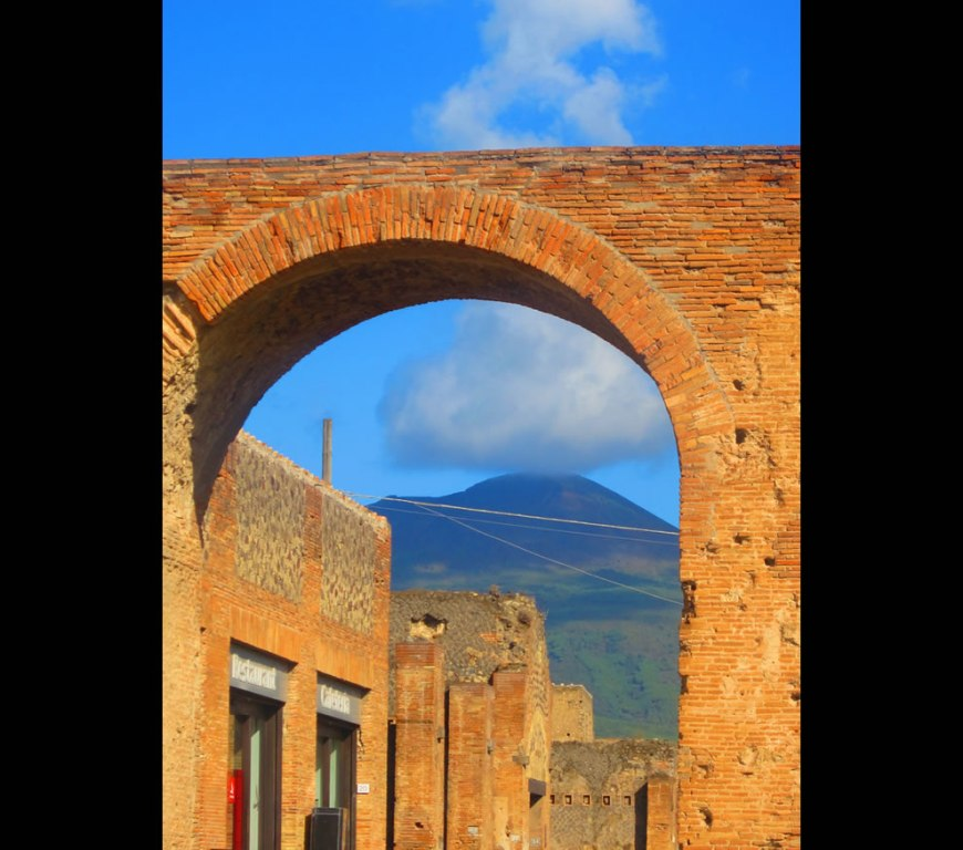 Pompeii with Mount Vesuvius in the background
