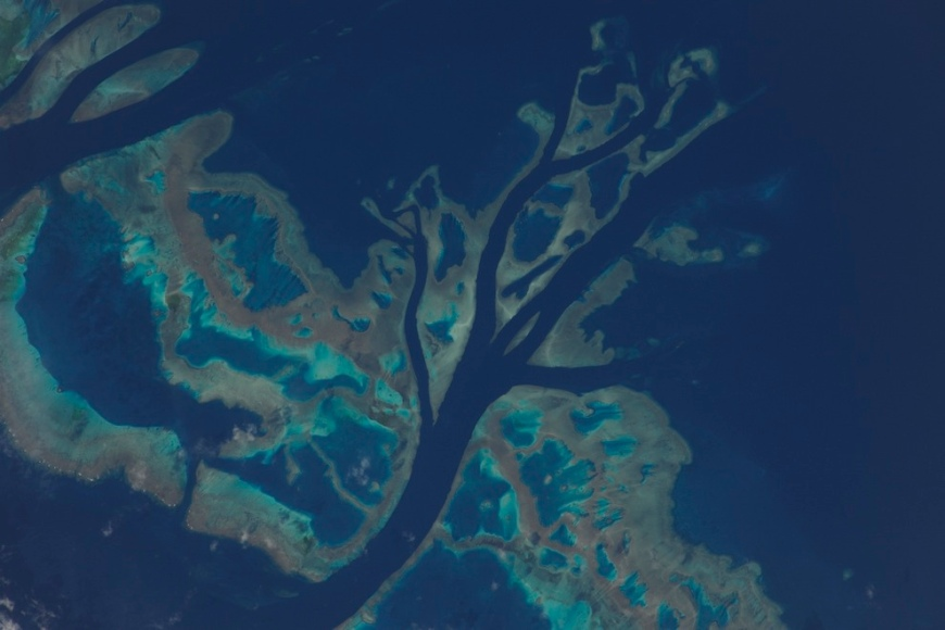 Portion of the Great Barrier Reef as seen from ISS