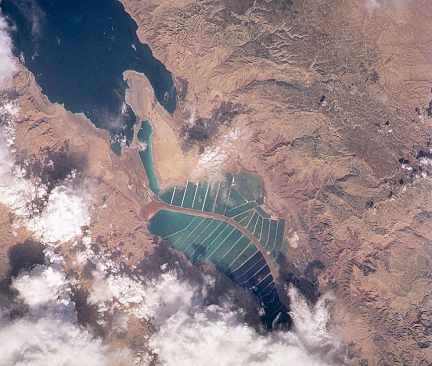 Satellite image from 2001 of Dead Sea salt evaporation ponds - Israel - Jordan