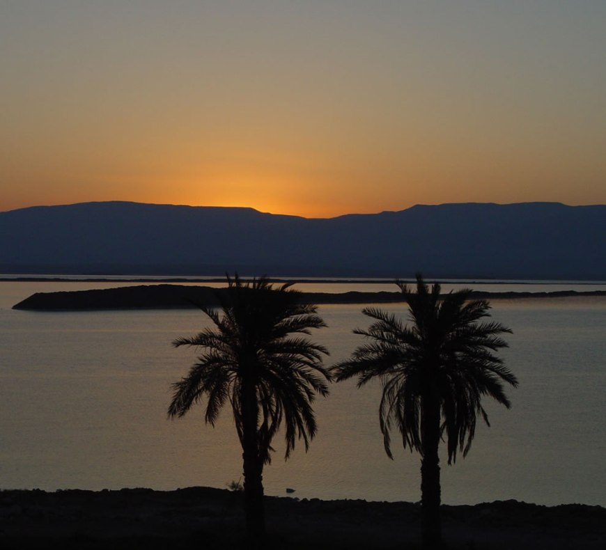 The Dead Sea just before sunrise