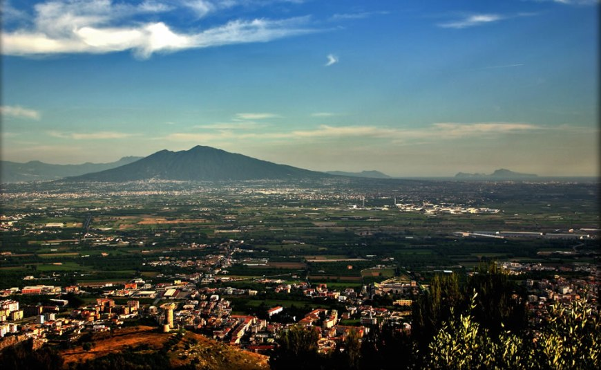 Viewpoint of Mount Vesuvius and Capri island from a hill of Maddaloni