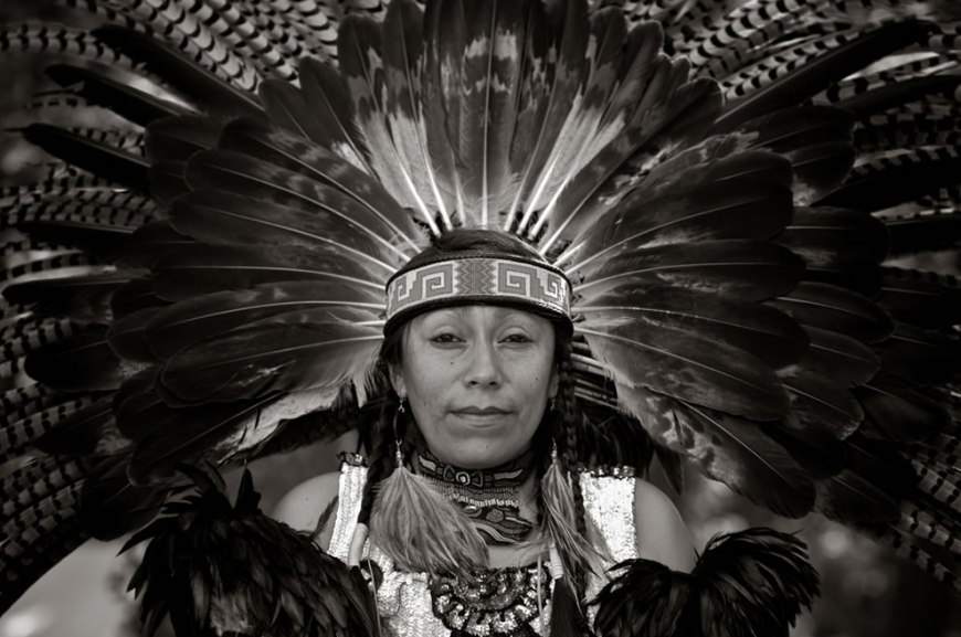 Amazing Headdress B&W Shinecock Nation Pow-Wow