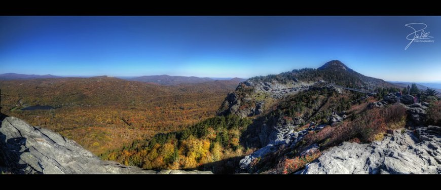 Horizontal panorama of Grandfather Mountain from eight vertical HDR images