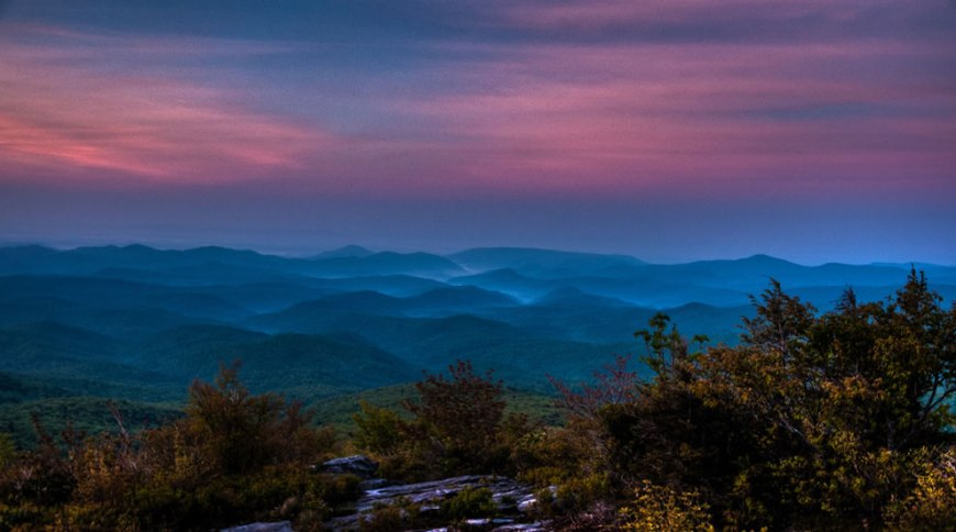 Rough Ridge before sunrise. Fog fills valleys along the Blue Ridge Parkway south of Blowing Rock, N.C.