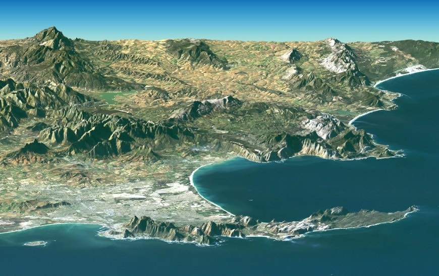 Satellite image of Table Mountain, Cape peninsula, Table Bay