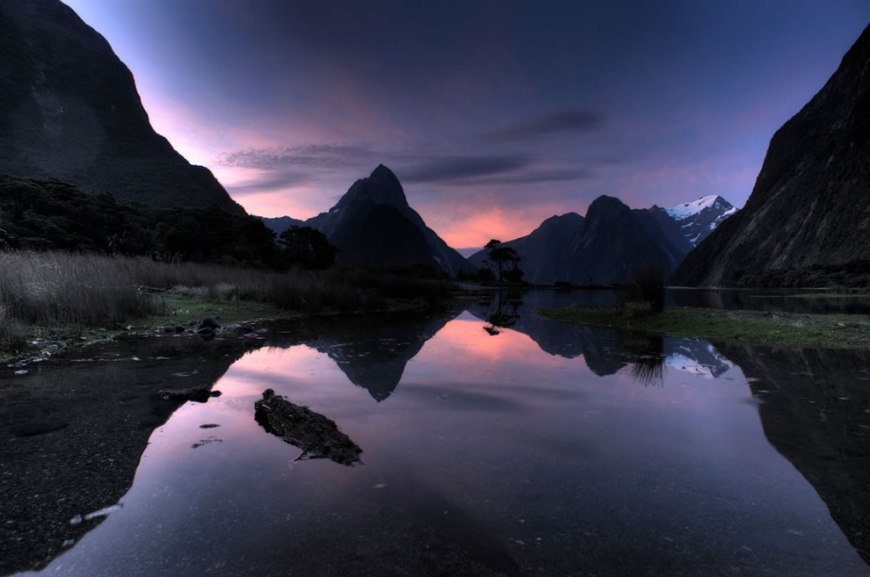 Sunset over Milford Sound