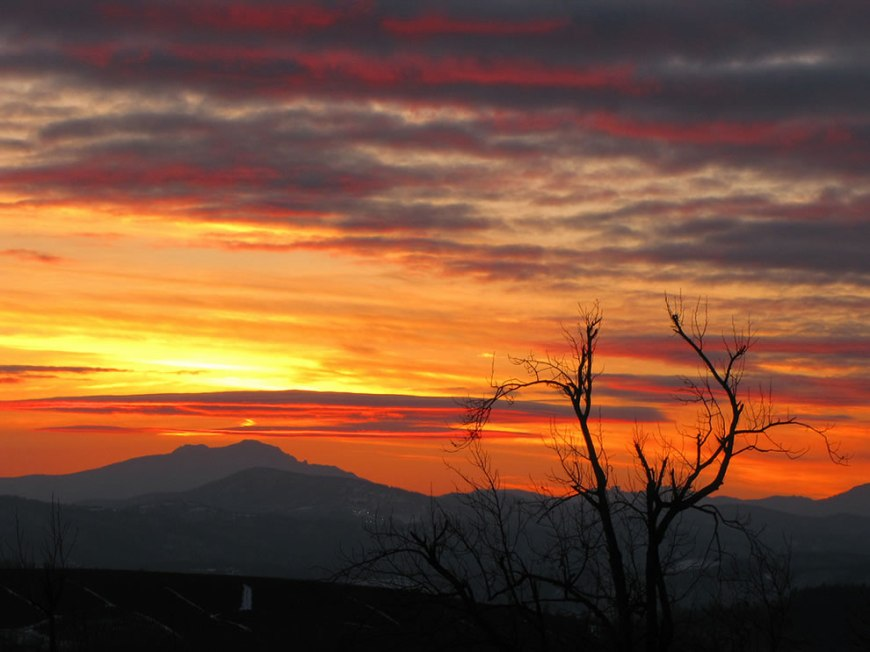 Sunset skies over Grandfather Mountain