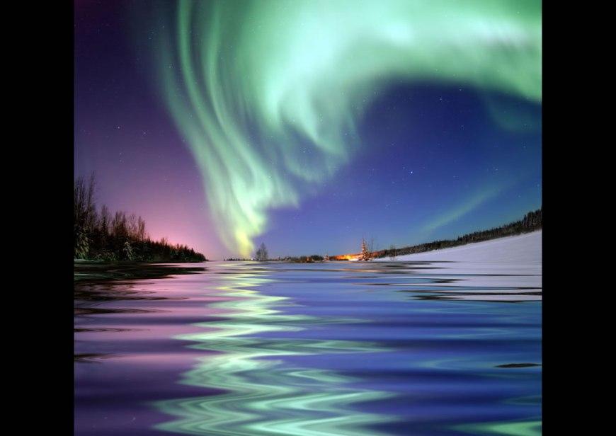 Aurora Borealis around the North Pole, the Northern Lights, from Bear Lake, Alaska