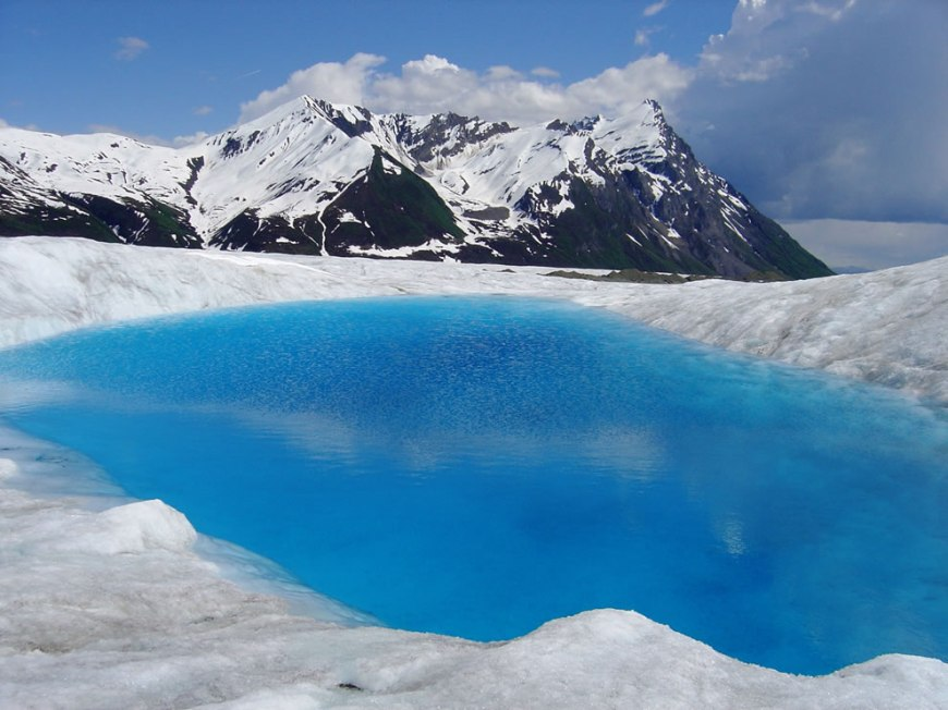 Blue glacial pool at Wrangell–St. Elias National Park and Preserve