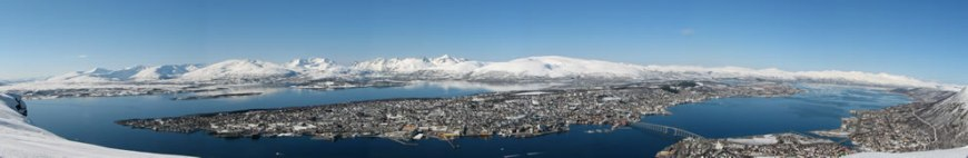 Panoramic view of Tromsø ('Romsa in Northern Sami, Tromssa in Finnish) is a city and municipality in the county of Troms, Norway
