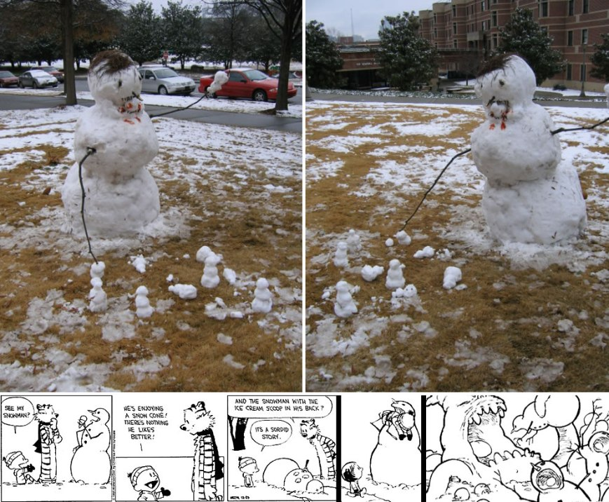 Calvin and Hobbes-esque hybrids -- cross between cannibalistic ice cream snowman, maneater snowman, and the snow monster