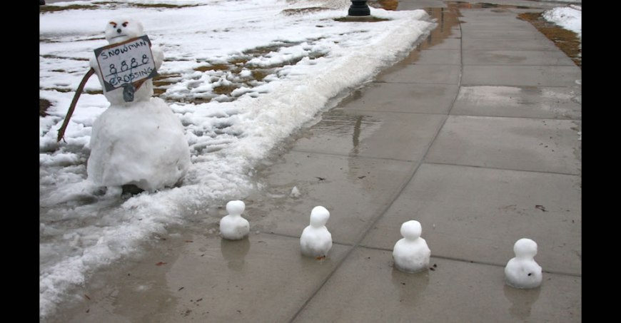 Calvin and Hobbes-esque Snowmen crossing