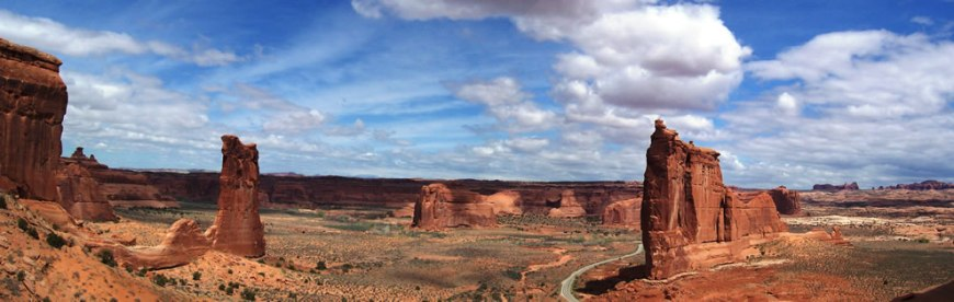 Panorama of Tower of Babel in Arches National Park near Moab, Utah