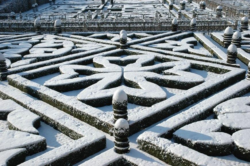Chateau de Villandry geometric gardens -- crosses -- winter scene