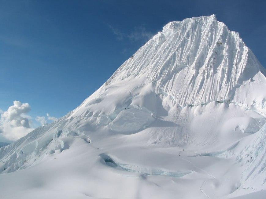 Climbers on Alpamayo mountain in Peru