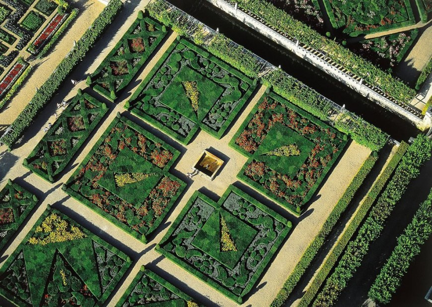 Gardens of the Chateau de Villandry -- France from above