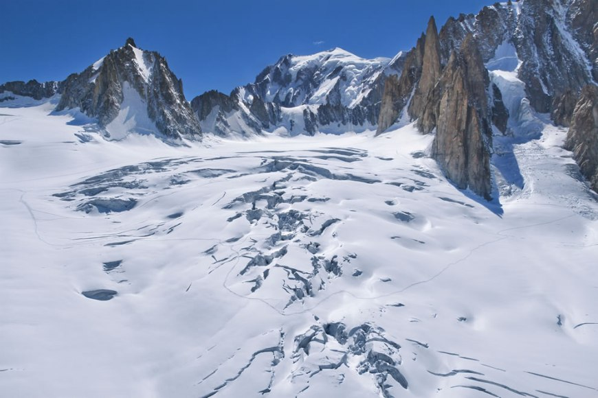 Glacier du Géant, on the French side of Mont Blanc in the Alps