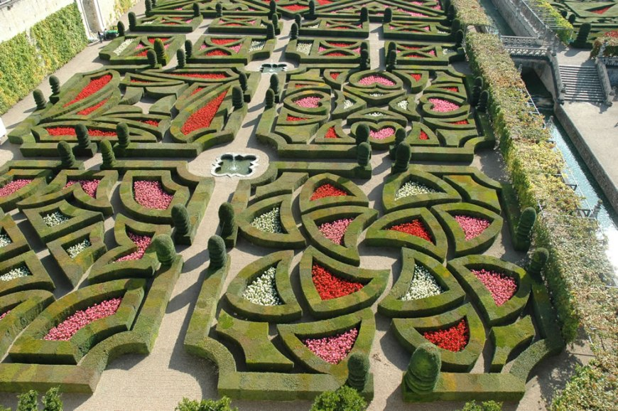 The Love Garden and canals of Chateau de Villandry castle - garden built for love