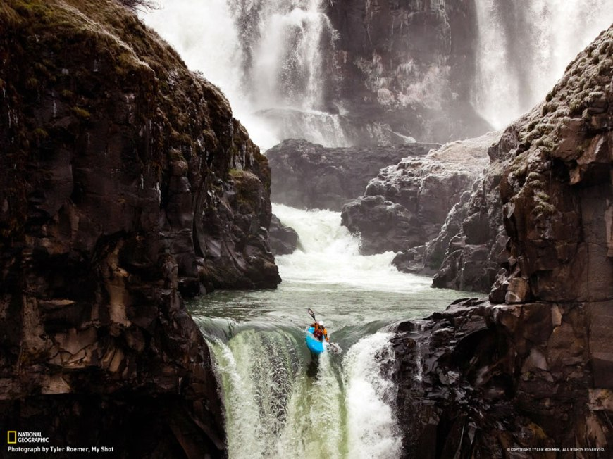 Hood River, a kayaker places one of her last strokes off Celestial Falls in Oregon