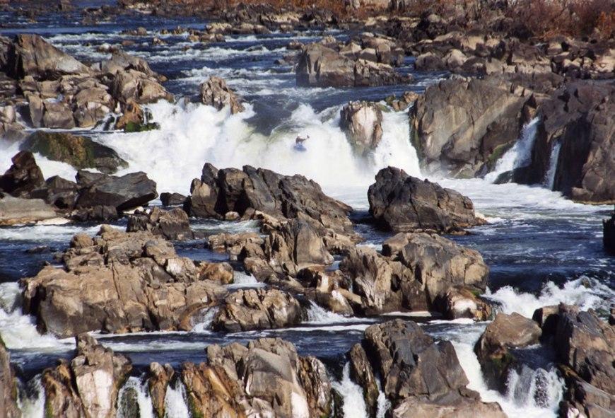Kayaker running the Great Falls of the Potomac River