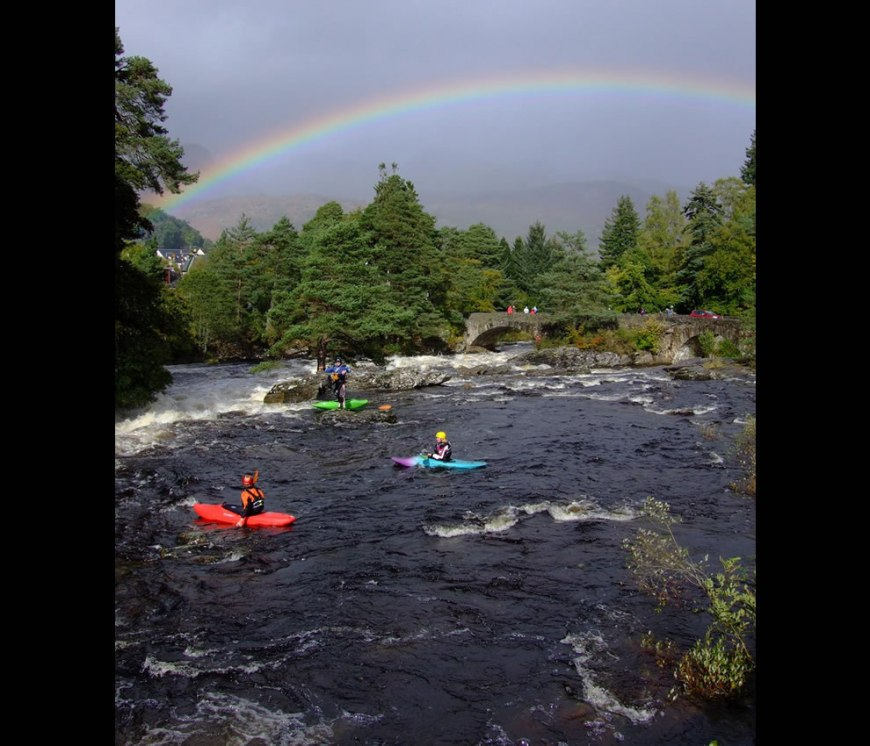 Kayaking, Canoeists Falls of Dochart, Scotland