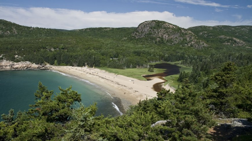 Acadia Sand Beach from above