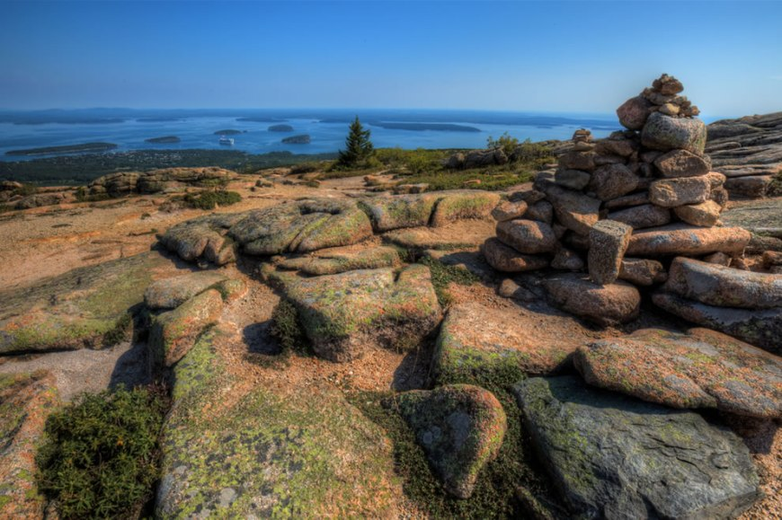 Cairns on Cadillac Mtn overlooking Bar Harbor, Maine
