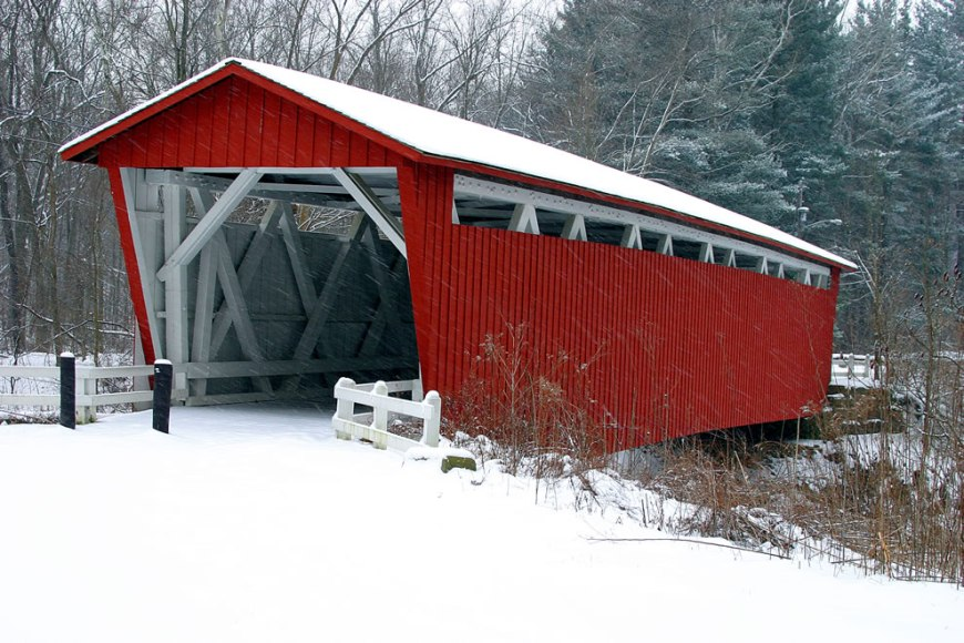 Covered bridge in snow at Cuyahoga Valley National Park